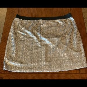 Gold, sparkly mini skirt; Old Navy; Size XL
